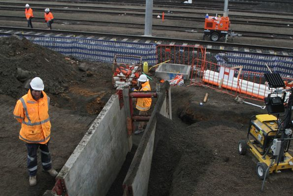 Trenching beneath the new siding at West Footscray