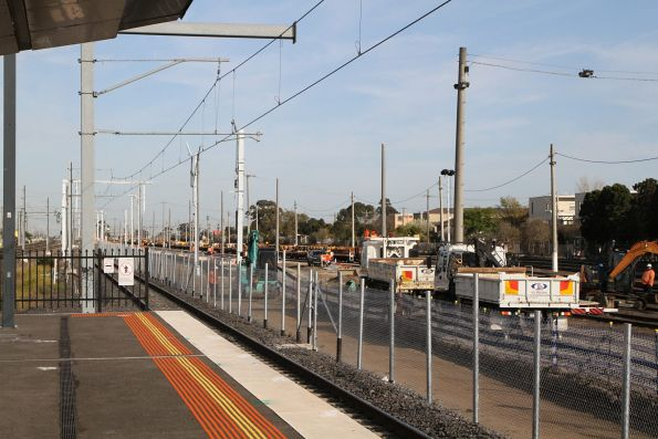 New stanchions in place along the hot standby siding alignment at the down end of West Footscray