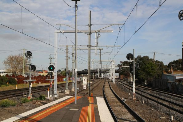 New stanchions in place between Middle Footscray and West Footscray