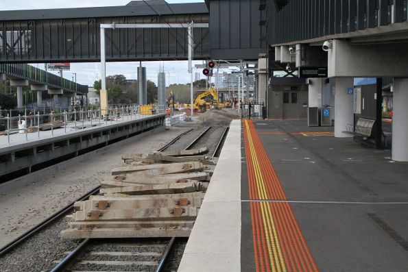 Pile of removed concrete sleepers at West Footscray