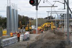 Suburban tracks removed at the up end West Footscray to allow the installation of a new crossover