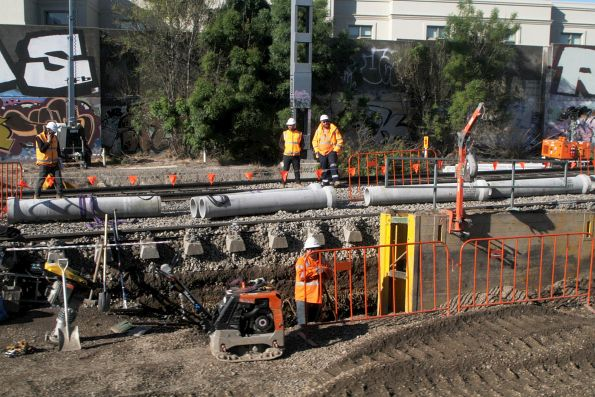 Drainage works along the suburban tracks at Middle Footscray