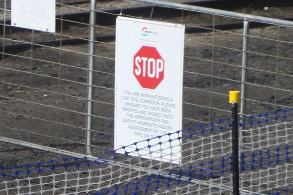 ''STOP. You are now entering a live rail corridor' sign at Tottenham Yard