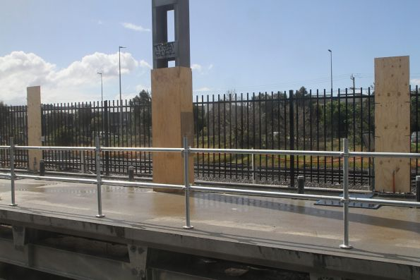 Permanent steel fencing indicates where the new platform will lack any shelter