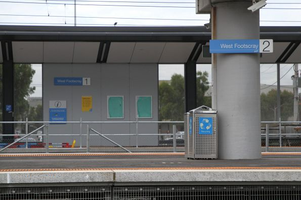 New 'platform 1' signage in place at the new West Footscray turnback platform