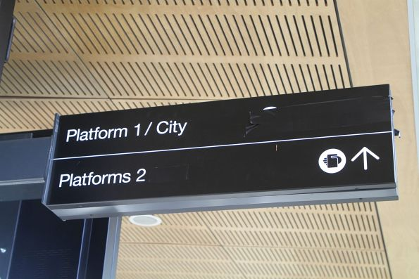 Signage to 'Platform 3' covered over pending commissioning of the new platform and reunmbering of the existing ones