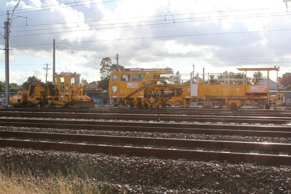 John Holland ballast tamper and regulator stabled on the yet to be commissioned future up track