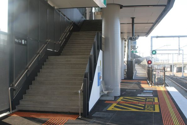 Steps, ramp and lift at the up end of the new West Footscray platform 1