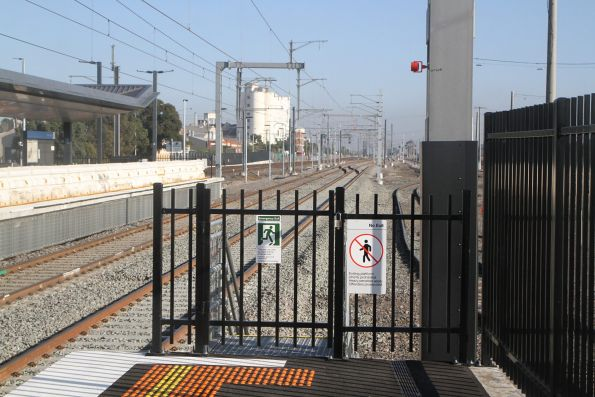 Locked emergency exit at the down end of the new West Footscray platform 1