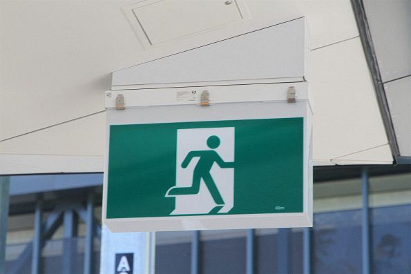 48 metre visibility emergency exit signage on the new platform 1