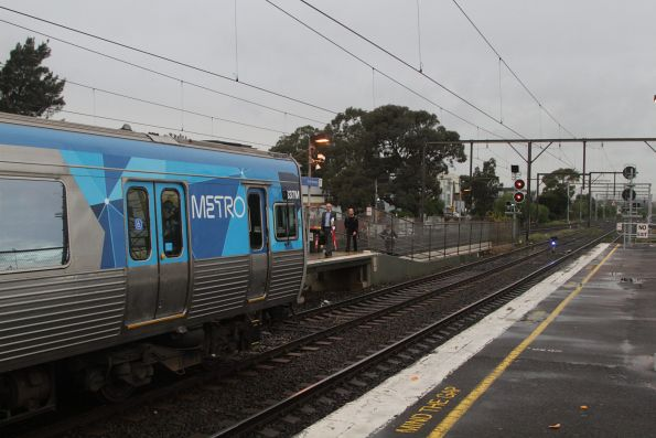 Up Werribee service held by a home signal at South Kensington, after Metrol was evacuated