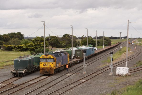 The down freight arrives at Gheringhap to collect the cement wagons ex-North Geelong Yard