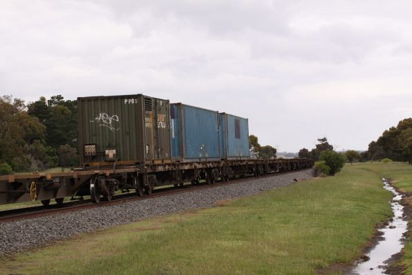 Only two 40 foot containers on the train, plus the genset container