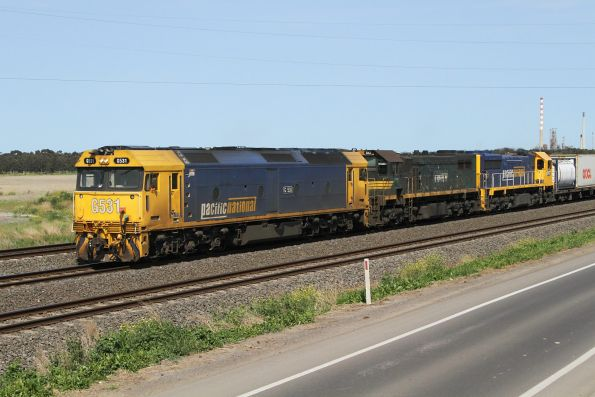 G531, X43 and XR551 on the up Mildura freight at Corio