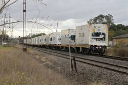 Refrigerated 40 foot containers at the tail end of the up Mildura freight at Brooklyn