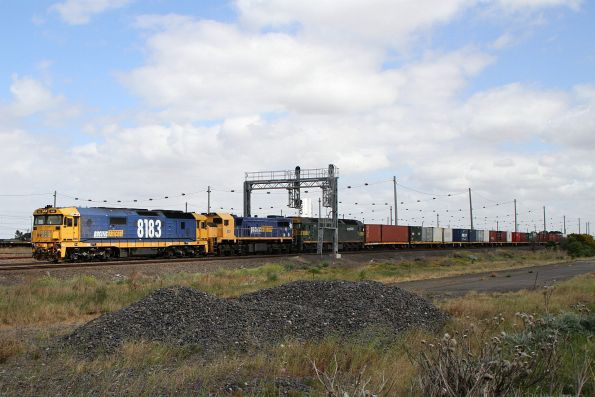 8183 leads X48 and G520 on the up Mildura freight at Tottenham