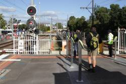 Myki readers installed at the temporary bus terminus access at the down end of Blackburn