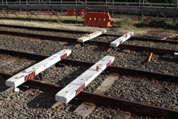 Temporary end of the line at Blackburn, due to the Mitcham level crossing removal project