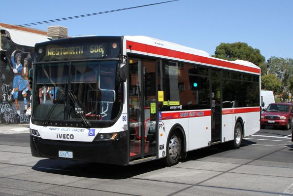 Moonee Valley Coaches bus #90 2264AO on route 506 along Glenlyon Road at Lygon Street