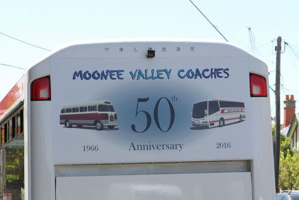 '50th anniversary 1966-2016' signage on the rear of Moonee Valley Coaches #90 2264AO