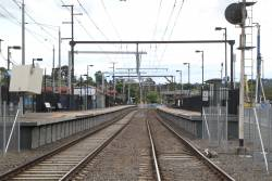 Looking up the line from the Mooroolbark station pedestrian crossing