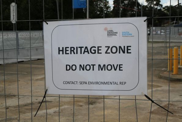 'Heritage Zone' warning side outside the work site