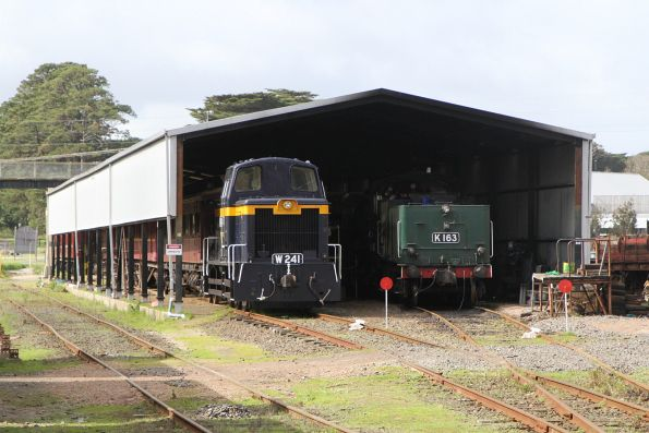 W241 and K163 stabled in the shed at Moorooduc