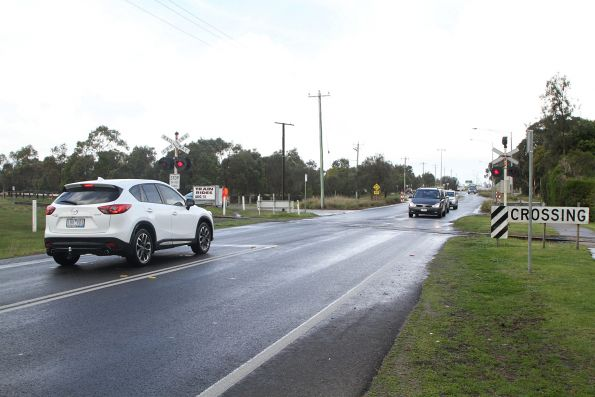 Mornington Railways staff activate the lights at the Bungower Road level crossing