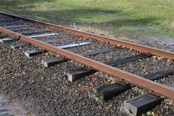 Dogspikes and screws secure the timber sleepers at Bungower Road