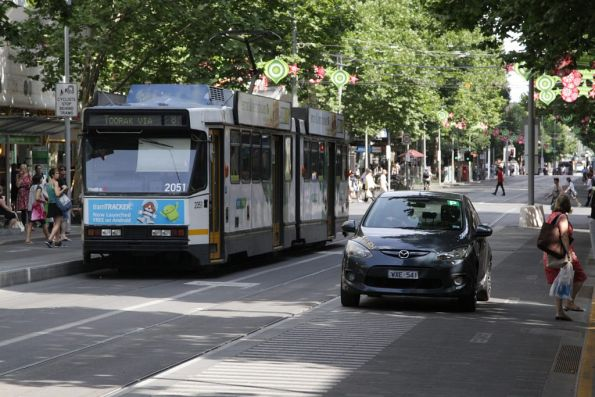 This takes the cake: driving along the footpath of the Bourke Street tram stop on Swanston Street