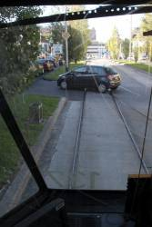 Route 55 tram blocked again, this time a car at the Haymarket roundabout