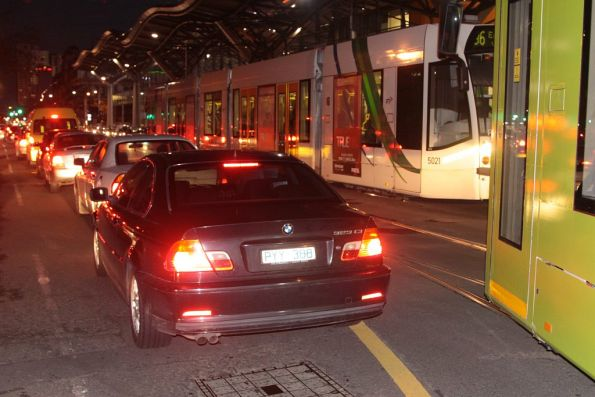 Dickhead in a BMW fouls the yellow line on Spencer Street, delaying a southbound tram