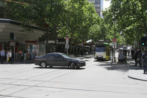 And they make a last minute u-turn at Bourke and Swanston Streets