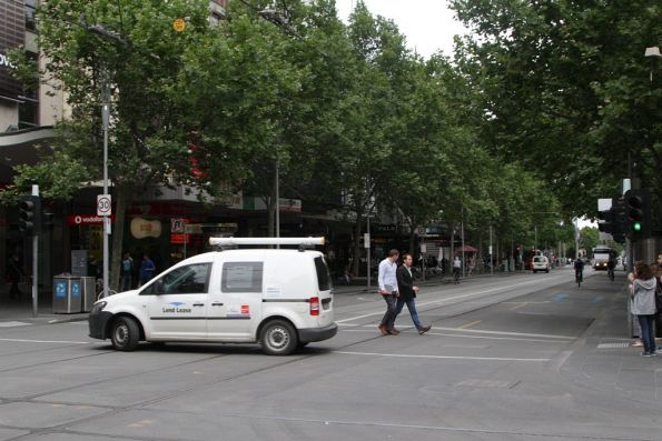 Corner of Swanston and Bourke: the van driver decides to u-turn