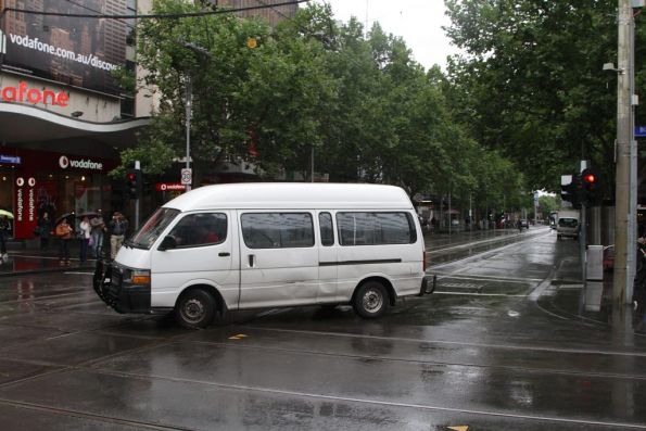 After a few moments of confusion, this van driver pulls a u-turn at Bourke and Swanston Streets