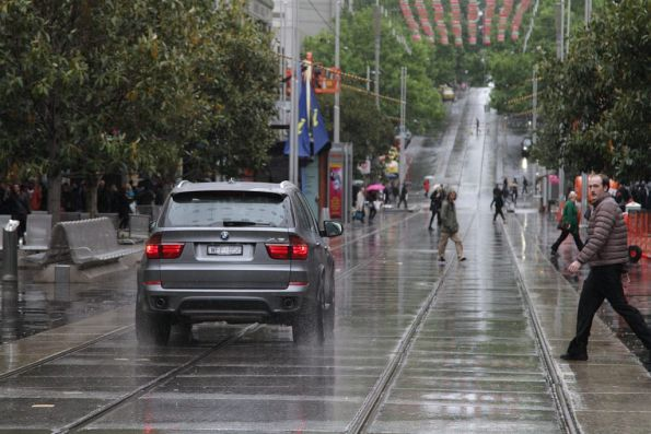 And off the go speeding down the Bourke Street Mall