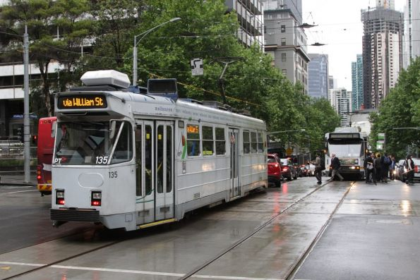 Tram Z3.135 delayed by cars blocking the tracks after completing a hook turn