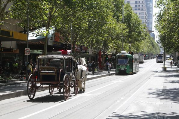 Since when have horse and carriages been allowed to use the Swanston Street tram stops?