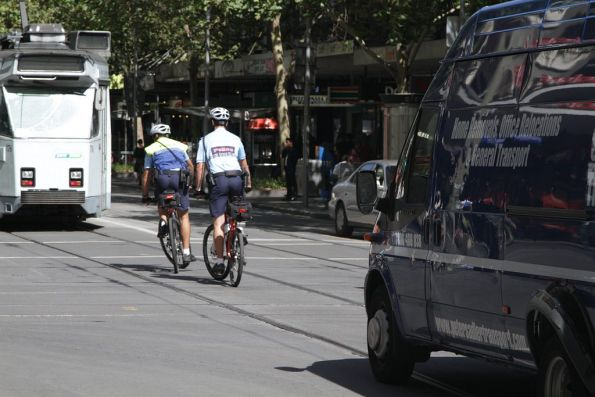 Victoria Police bike patrol at Swanston and Bourke Streets