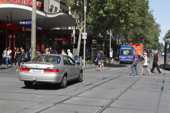 Having realised the tram tracks aren't for them, the confused motorist makes a u-turn