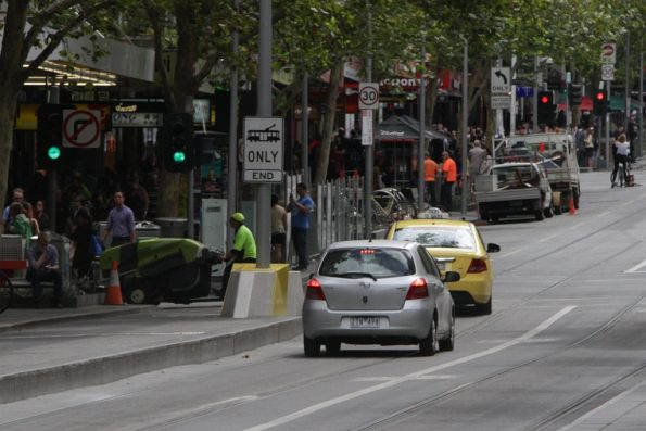 Confused motorist also decided to follow the taxi through the Swanston and Bourke tram stop