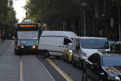 Route 12 tram on Collins Street delayed by an idiot in a white van failing to complete a u-turn across the tracks
