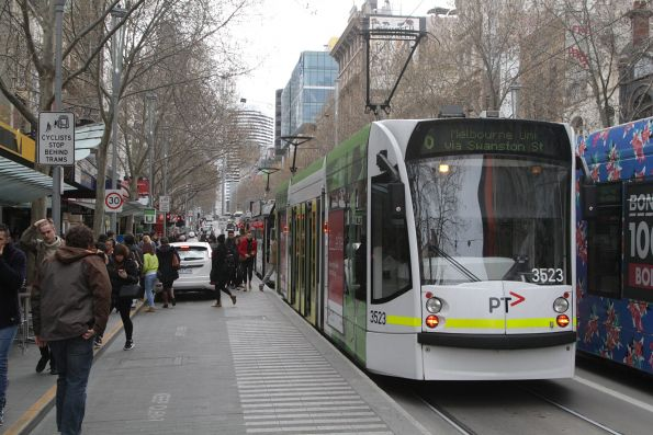 Lost motorist drives through the tram stop at Swanston and Bourke Street