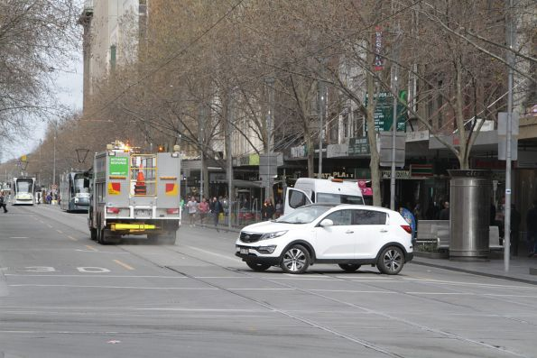 Lost motorist turns away from the dead end corner of Swanston and Bourke Streets