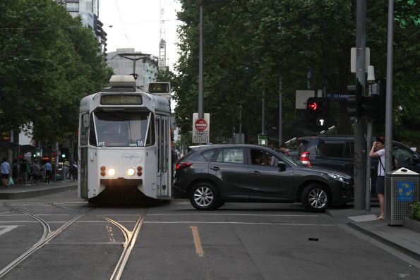 Southbound tram on Swanston Street waits for an idiot on Little Lonsdale Street to clear the intersection
