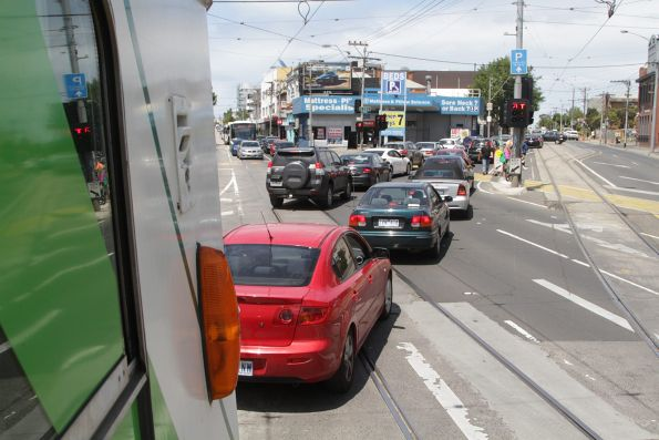 Southbound cars on Ascot Vale Road queue through Moonee Ponds Junction