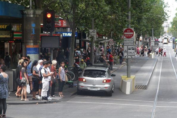 Confused motorist tried to drive down the Swanston Street bike lane, but changes their mind