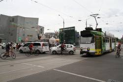 Z3.164 at Flinders and Swanston Street blocked by cars queuing through the intersection