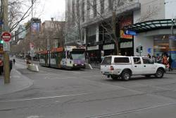 Confused motorist realises they can't drive any further north along Swanston Street, so u-turn at Bourke Street