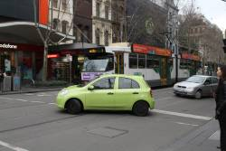 Two more confused motorists realise they can't drive any further north along Swanston Street, so u-turn at Bourke Street